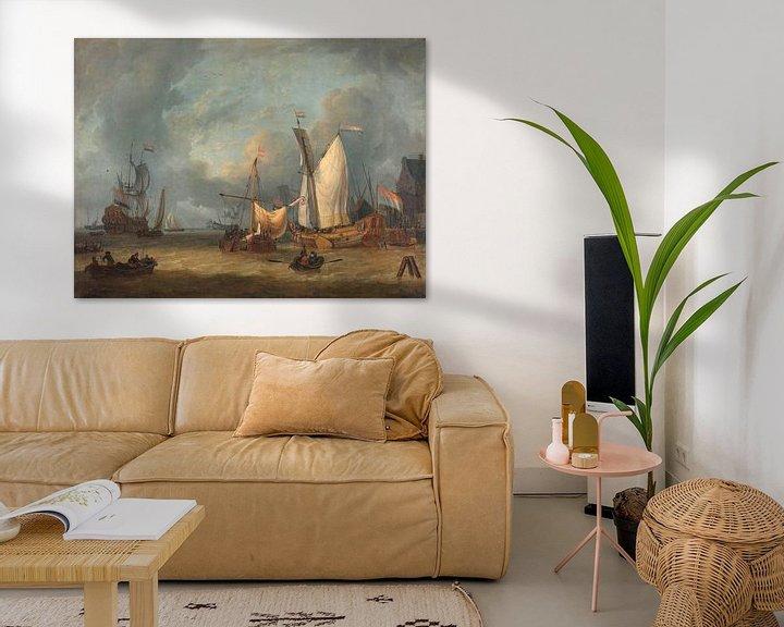 Sfeerimpressie: Schepen in de haven in een stijve bries, Jan Claesz. Rietschoof