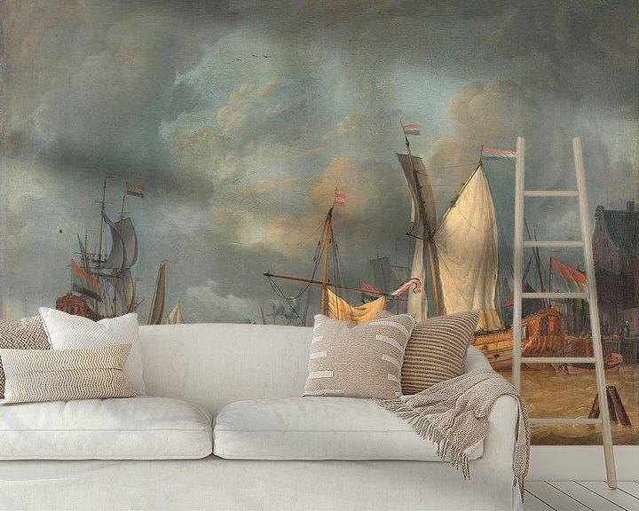 Sfeerimpressie behang: Schepen in de haven in een stijve bries, Jan Claesz. Rietschoof