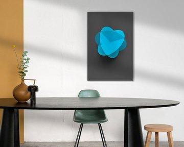 Abstrakte blaue Kugel-Blüte auf grauem Untergrund von Jörg Hausmann