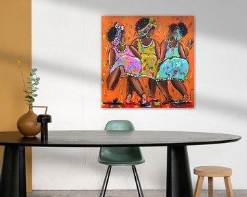 Curaçao feest vierende dames van Vrolijk Schilderij