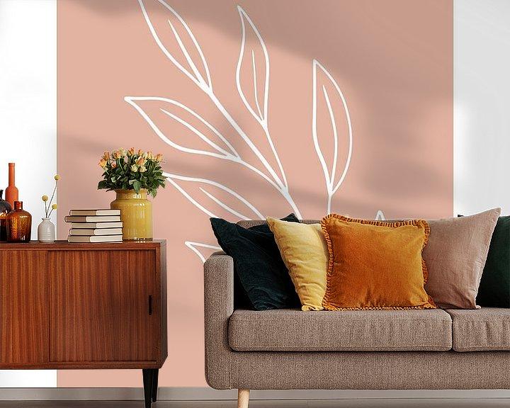 Sfeerimpressie behang: Pink Leaf - Botanische Print van MDRN HOME