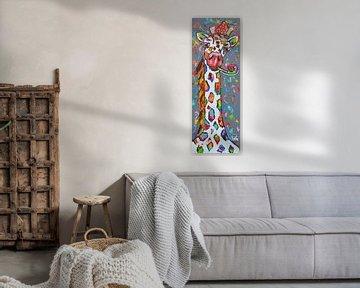 Girafe joyeuse sur Vrolijk Schilderij