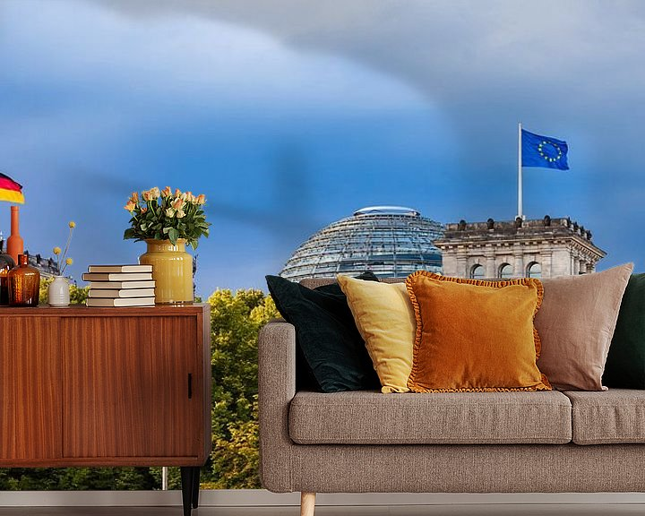 Sfeerimpressie behang: Rijksdaggebouw in Berlijn van Werner Dieterich