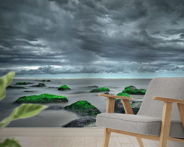Beispiel fototapete: Sturm in Katwijk aan Zee lange Exposition von Wim van Beelen