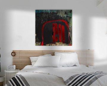 Roter Bogen auf Schwarz von Klaus Heidecker