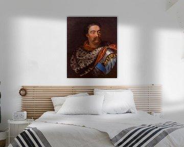 Porträt von Johannes III. Sobieski in einem Leopardenfell, Jan Tricius
