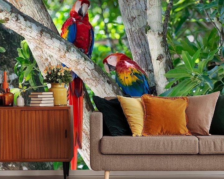 Sfeerimpressie behang: Papegaaien in een boom in Costa Rica van Kevin Pluk