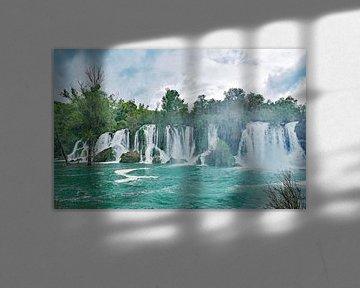 Watervallen bij Kravica in Bosnië Herzegovina van Gonnie van Hove