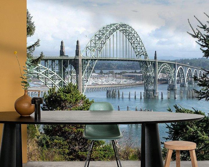 Sfeerimpressie behang: Yaquina Bay Bridge, Newport, Oregon van John Faber