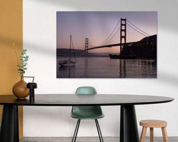 Sfeerimpressie: Golden Gate brug bij avond van John Faber