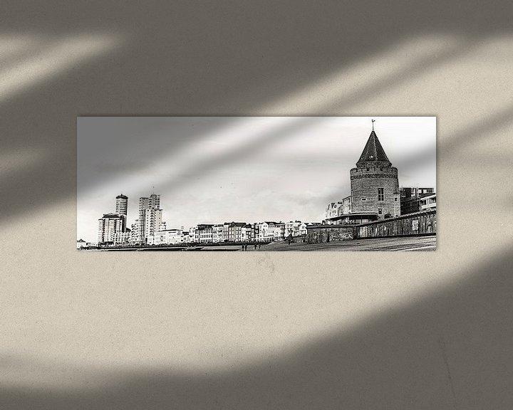 Sfeerimpressie: Panoramafoto met de Gevangentoren, de Sardijntoren en de boulevard van Vlissingen (Zeeland) (zwart-w van Fotografie Jeronimo