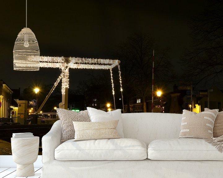 Sfeerimpressie behang: Ophaalbrug met kerstversiering van Rob Pols