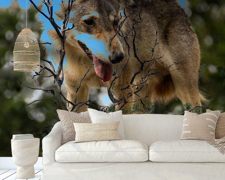 Sfeerimpressie behang: Wolf van Frans Van der Kuil