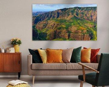 Hubschrauber-Blick über den Waimea Canyon, Kauai, Hawaii