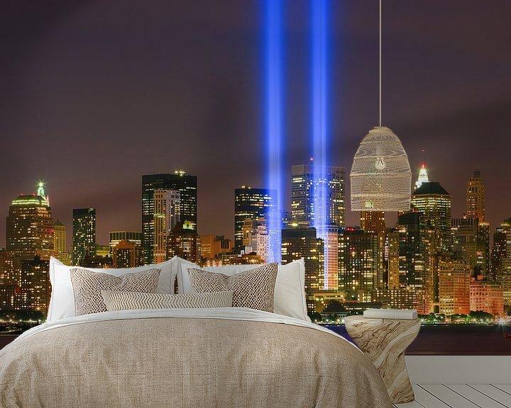 Sfeerimpressie behang: Tribute in Light tijdens 9/11 in New York City van Henk Meijer Photography