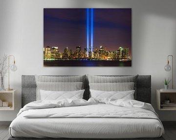 Tribute in Light tijdens 9/11 in New York City van Henk Meijer Photography