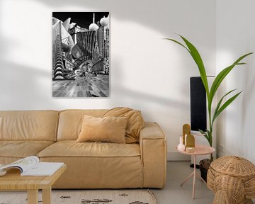 Collage Eindhoven. Die Highlights der Stadt in schwarz-weiß. von Marianne van der Zee