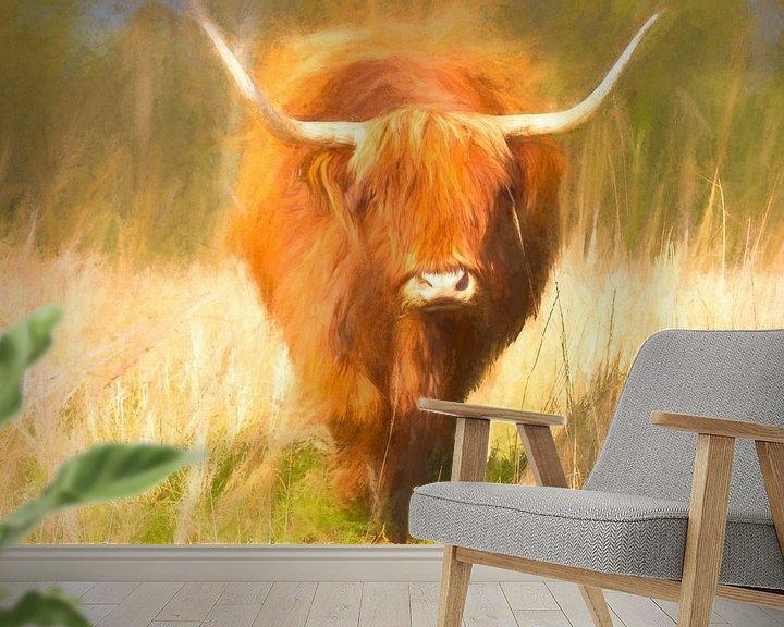 Sfeerimpressie behang: Schotse Hooglander geschilderd van Arjen Roos