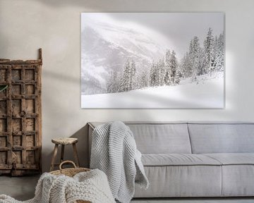 Sneeuwlandschap met naaldbomen, dennenbomen en heel veel sneeuw van Moments by Kim