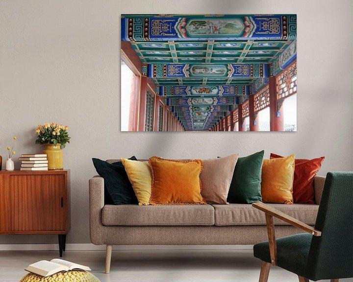 Sfeerimpressie: Lange Corridor Kunstwerken Koninklijke Parken Beijing Plafond van Ben Nijhoff