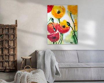 Sechs Mohnblumen von Klaus Heidecker