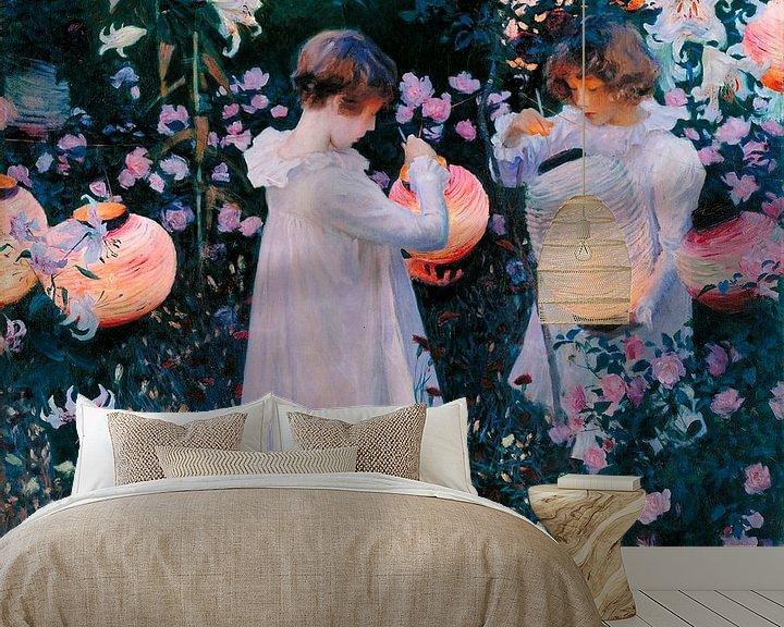 Sfeerimpressie behang: Carnation, Lily, Lily, Rose, John Singer Sargent