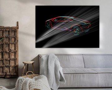 Lambo supercar in dunkler Umgebung