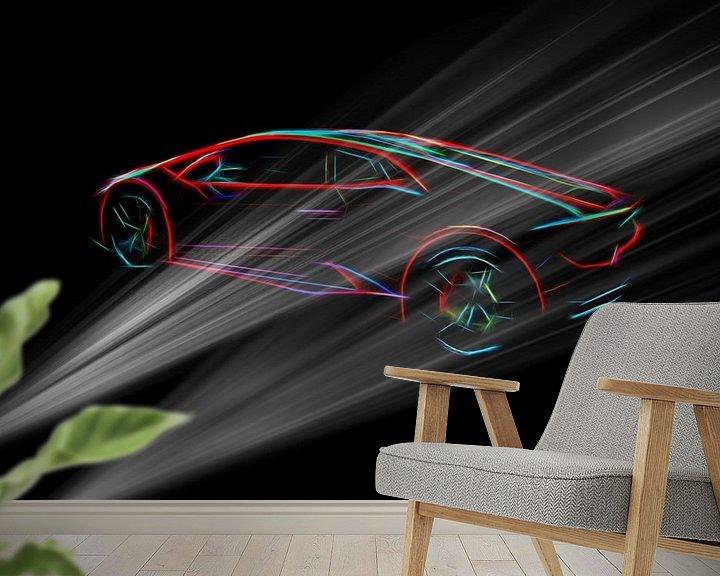 Beispiel fototapete: Lambo supercar in dunkler Umgebung von Atelier Liesjes