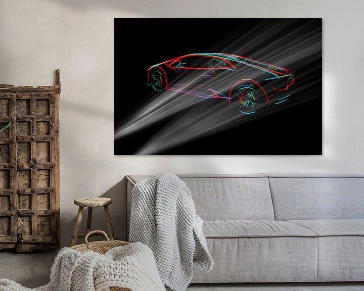 Beispiel: Lambo supercar in dunkler Umgebung von Atelier Liesjes