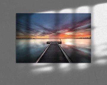 Hollands polderlandschap en zonsopkomst van Original Mostert Photography