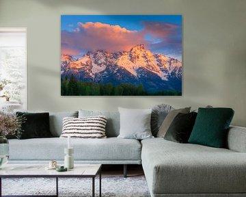 Zonsopkomst Grand Teton NP, Wyoming, Verenigde Staten