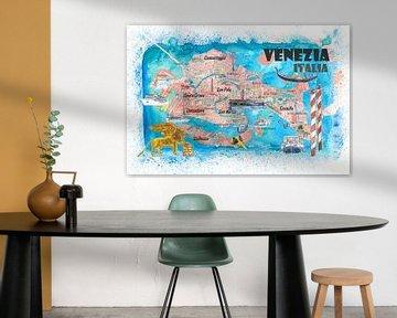 Venetië Italië Geïllustreerde kaart met de belangrijkste kanalen bezienswaardigheden en hoogtepunten van Markus Bleichner