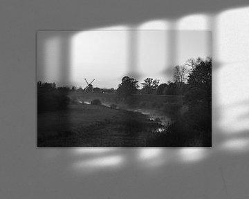 Schwarzweiße Landschaft bei Neerijnen von Marije van der Vies