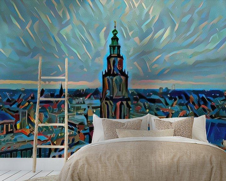 Sfeerimpressie behang: Schilderij vanaf Groninger Forum: Skyline van Groningen met de Martinitoren van Slimme Kunst.nl