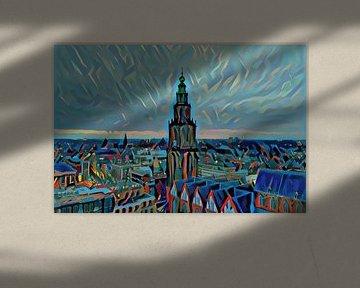 Schilderij vanaf Groninger Forum: Skyline van Groningen met de Martinitoren
