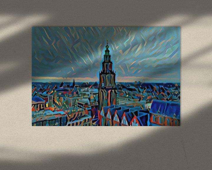 Sfeerimpressie: Schilderij vanaf Groninger Forum: Skyline van Groningen met de Martinitoren van Slimme Kunst.nl