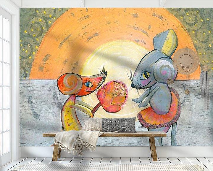 Sfeerimpressie behang: Mouse-love van Edith van Zutven