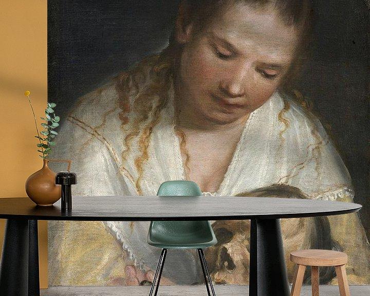 Beispiel fototapete: Frau betrachtet einen Schädel, Alessandro Casolani