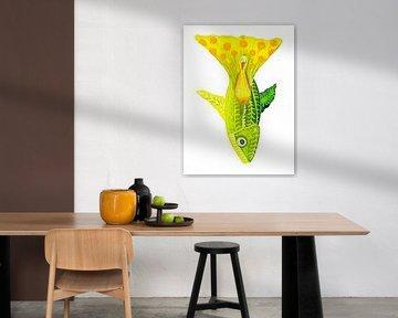 Groene vis van Edith van Zutven