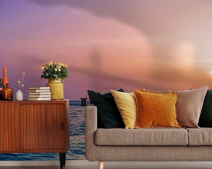 Sfeerimpressie behang: Gasparilla Island Sunset   Panorama van Melanie Viola