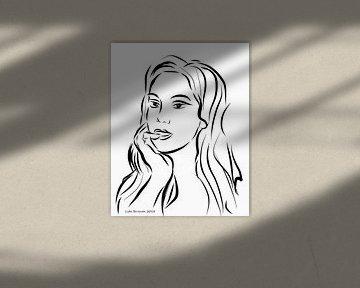 Portrait d'une femme sur fond blanc sur Lida Bruinen