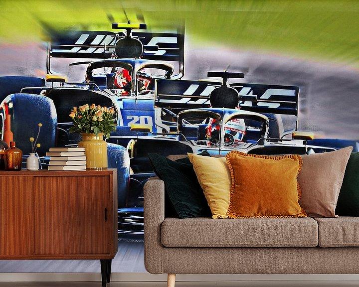 Beispiel fototapete: Grosjean and Teammate Magnussen von Jean-Louis Glineur alias DeVerviers