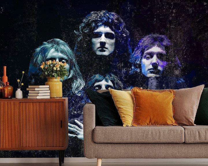 Beispiel fototapete: Queen Bohemian Rhapsody Abstract in Türkisblau-Violett von Art By Dominic