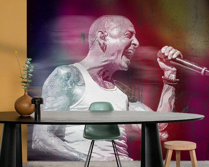 Beispiel fototapete: Linkin Park Chester Bennington Abstraktes Porträt in Rot von Art By Dominic