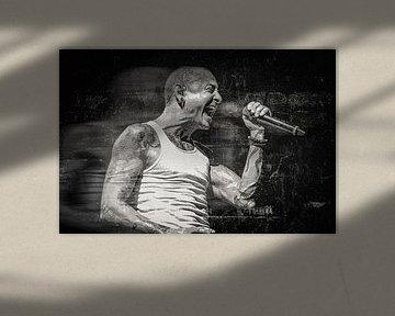 Linkin Park Chester Bennington Abstract Portret in Zwart Wit Grunge van Art By Dominic