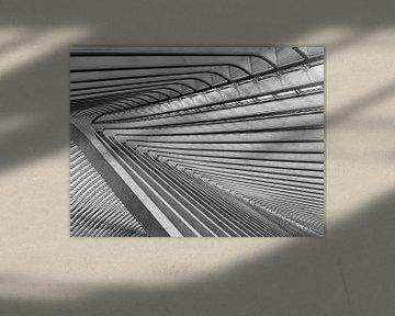 Abstrakte und sich wiederholende Muster am Bahnhof von Lüttich (Gare de Liège-Guillemins) von John Trap