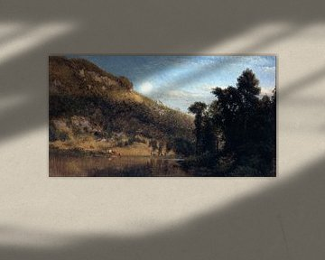 Aaron Draper Shattuck - Berkshire Foothills, Vollmond über dem Wiesenbach