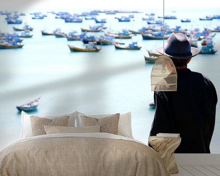 Sfeerimpressie behang: Old Man and the Sea van Nico van der Vorm