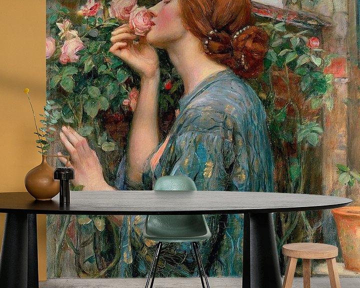 Sfeerimpressie behang: De ziel van de roos, John William Waterhouse