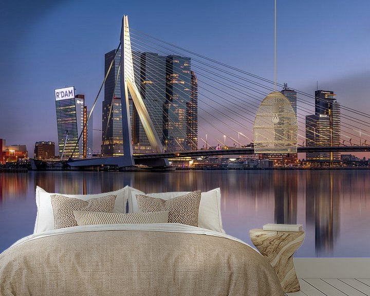 Sfeerimpressie behang: Rotterdam skyline van Fotografie Ronald